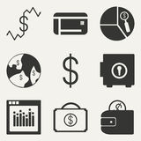 Flat in black and white concept mobile application. Flat black and white concept mobile application economics icons Stock Photography