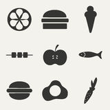 Flat in black and white concept mobile application. Food Stock Images