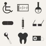 Flat in black and white concept mobile application. Flat and concept mobile application medicine icons Royalty Free Stock Images