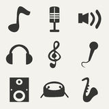 Flat in black and white concept mobile application. Music Stock Photography