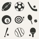 Flat in black and white concept mobile application. Flat black and white concept mobile application sports icons Royalty Free Stock Photos