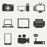 Flat in black and white concept mobile application. Flat  concept mobile application technology icons Stock Photos