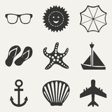 Flat in black and white concept mobile application. Flat black and white concept mobile application travel icons Stock Image