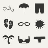 Flat in black and white concept mobile application. Vacation Stock Photography