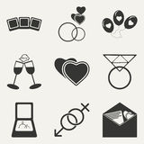 Flat in black and white concept mobile application. Flat black and white concept mobile application wedding icons Stock Photos