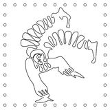 Flat black and white line hand drawing clown acrobat . royalty free illustration