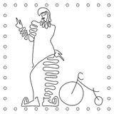 Flat black and white line hand drawing clown cyclist . vector illustration