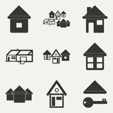 Flat in black and white mobile application houses. Flat  and mobile application houses Stock Images