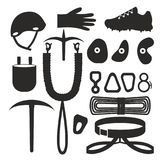 Flat black and white silhouette design elements of rock climber. Set with accessories and equipment. Hiker Instrument. Isolated. devices. Cloths, protection royalty free illustration