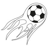 Flat black and white soccer fast ball flame. Sport vector illustration for icon, sticker sign, patch, certificate badge, gift card, stamp logo, label, poster Royalty Free Stock Photo