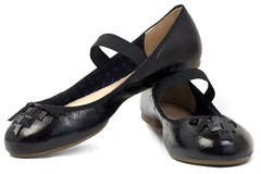 Flat,Black women's shoes Stock Image