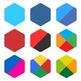 Flat blank rounded hexagon icon set web button Stock Image