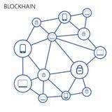 Blockchain Illustration on white background. Flat Blockchain Illustration on white background Royalty Free Stock Photography