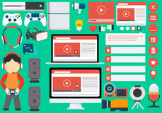 Flat Blogger collection of elements Royalty Free Stock Image