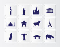 Flat blue button icons on a white background of fa. White symbols of famous tourist statues and buildings from around the world Stock Photos
