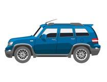 Flat blue car vehicle type design sedan style vector generic classic business auto illustration. stock illustration