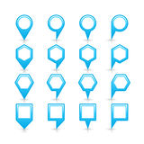 Flat blue color map pin sign location icon Stock Photos