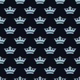 Flat blue crowns. Seamless pattern. royalty free stock photography