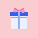 Flat Blue Gift Box Present with Pink Bow Stock Image