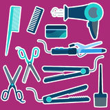 Flat blue hairdressing stickers set. Including irons, scissors, dryer, combs for barbershop, salons, hairdresser shops banners design royalty free illustration