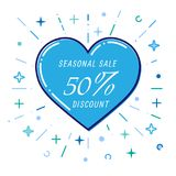 Flat blue heart, winter seasonal sale 50%, discount, vector.  Royalty Free Stock Images