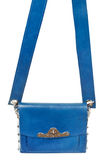 Flat blue leather female bag with broad belt Royalty Free Stock Photography