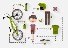 Flat BMX rider with items for riding. On white background Vector Illustration