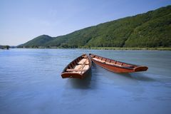 Flat-boats anchored Stock Photography