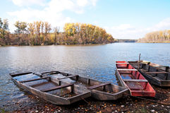 Flat boats on the backwater in autumn,Hungary Royalty Free Stock Photography