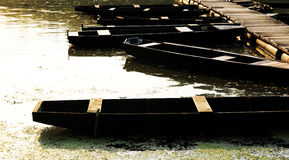 Flat boats on the backwater in summer Stock Photography