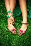 Flat boho summer female leather  slippers Stock Photos