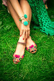 Flat boho summer female leather  slippers Stock Images