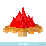 Flat bonfire flame and firewood isolated Stock Photos