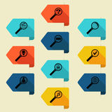 Flat bookmark with search icon (gorizontal right). On a light background Stock Photos