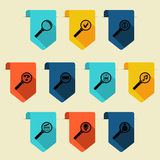 Flat bookmark with search icon (vertical) Royalty Free Stock Photo
