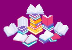 Flat books concept. Study reading and education illustration with stack of open close and flying books. Vector knowledge royalty free illustration