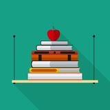 Flat bookshelf with long shadow. Vector icon Royalty Free Stock Images