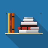 Flat bookshelf with long shadow. Vector icon Stock Images