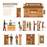 Flat Bookstore Elements Images Set Royalty Free Stock Photography