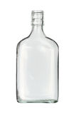 Flat bottle. Flat glass bottle (with clipping path) isolated on white background Stock Photos