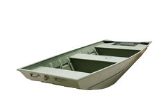 Flat bottom aluminum john jon boat painted green Stock Photos