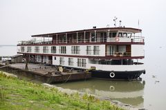 Flat bottom boat for tourism holiday on River Assam in India, Asia. Flat bottom large boat for tourism holiday on River Assam in India, Asia royalty free stock photography