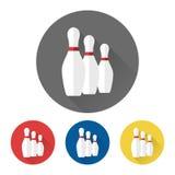Flat bowling skittles icons Stock Image