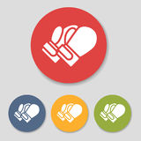 Flat boxing gloves icons. Set vector illustration Royalty Free Stock Photos