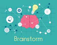 Flat, Brainstorm. Flat Brain with digital link line network. vector illustration