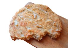 Flat bread with bacon and caraway seeds stock photos