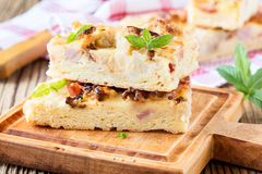 Flat bread with bacon, cauliflower, cheese Royalty Free Stock Photo