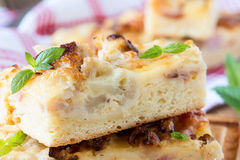 Flat bread with bacon, cauliflower, cheese Stock Photo