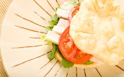 Flat Bread Chicken Sandwich Royalty Free Stock Photos