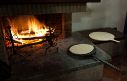 Flat bread cooked traditionally. Royalty Free Stock Photo
